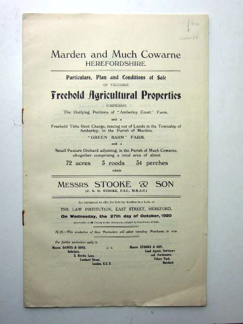 Photo of MARDEN AND MUCH COWARNE HEREFORDSHIRE published by Messrs. Stooke And Son (STOCK CODE: 1206037)  for sale by Stella & Rose's Books