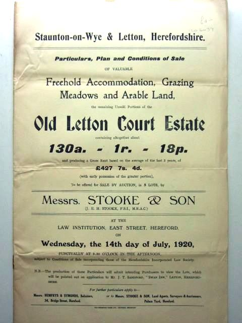 Photo of OLD LETTON COURT ESTATE REMAINING UNSOLD PORTIONS published by Messrs. Stooke And Son (STOCK CODE: 1206039)  for sale by Stella & Rose's Books