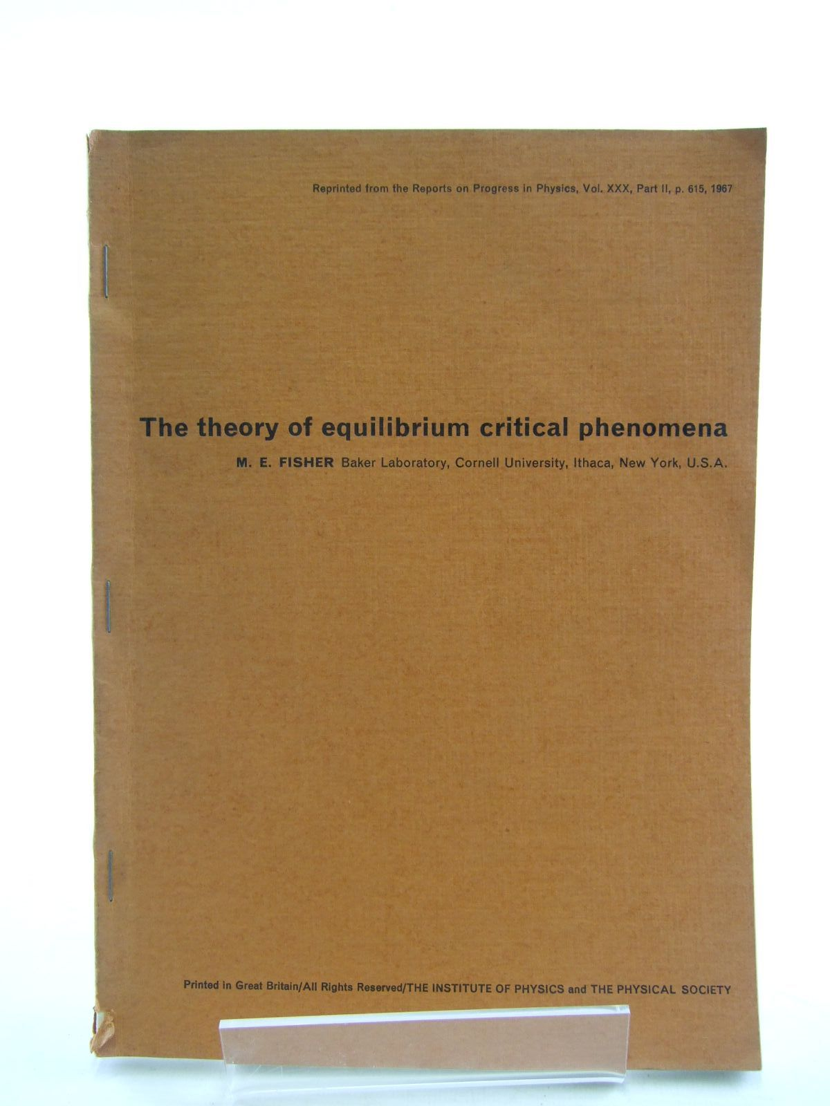 Photo of THE THEORY OF EQUILIBRIUM CRITICAL PHENOMENA written by Fisher, M.E. published by Cornell University Press (STOCK CODE: 1206451)  for sale by Stella & Rose's Books