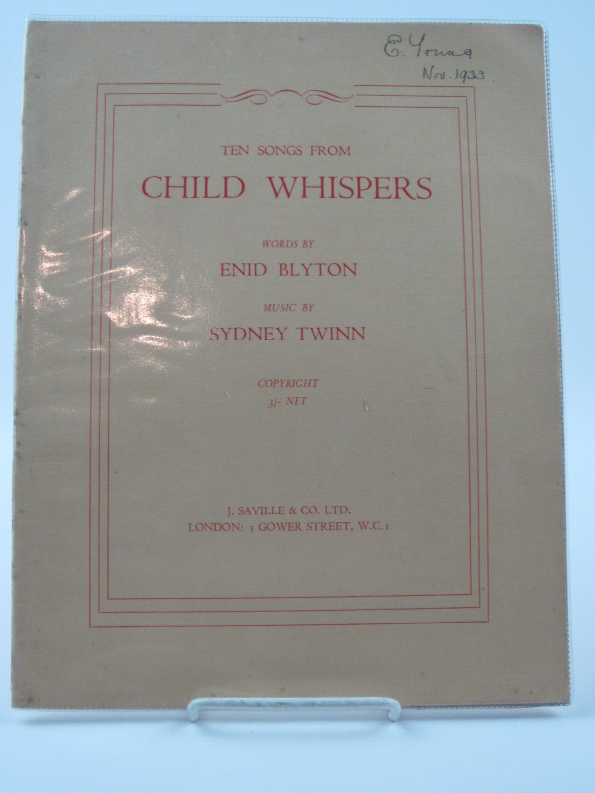 Photo of TEN SONGS FROM CHILD WHISPERS written by Blyton, Enid<br />Twinn, Sydney published by J. Saville & Co. Ltd. (STOCK CODE: 1309487)  for sale by Stella & Rose's Books