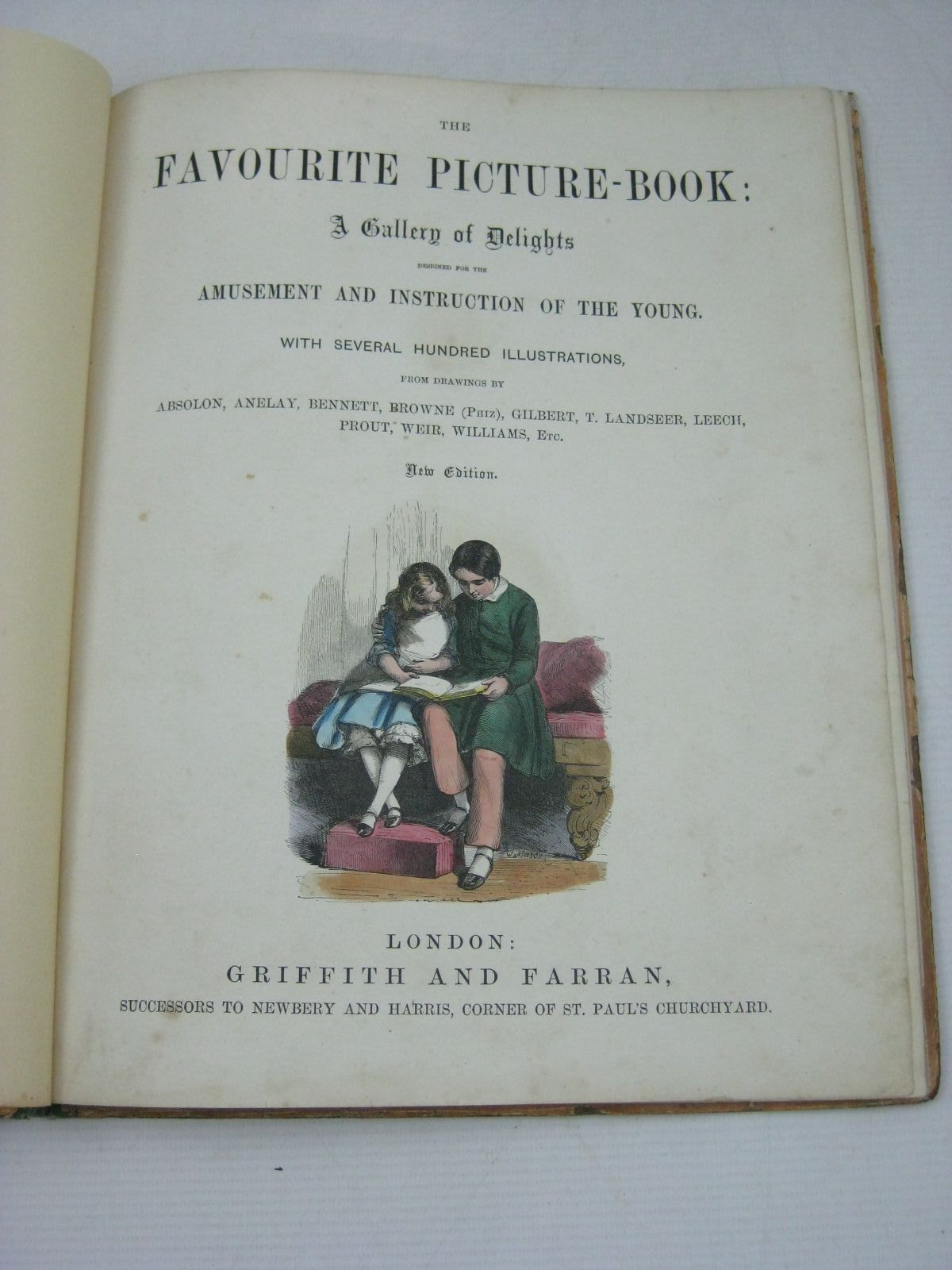 Photo of THE FAVOURITE PICTURE BOOK illustrated by Absolon, John<br />Browne, Halbot Knight Phiz<br />Gilbert, John<br />Landseer, Thomas<br />Leech, John<br />Prout, J.S.<br />Weir, Harrison<br />et al., published by Grant and Griffith (STOCK CODE: 1315589)  for sale by Stella & Rose's Books