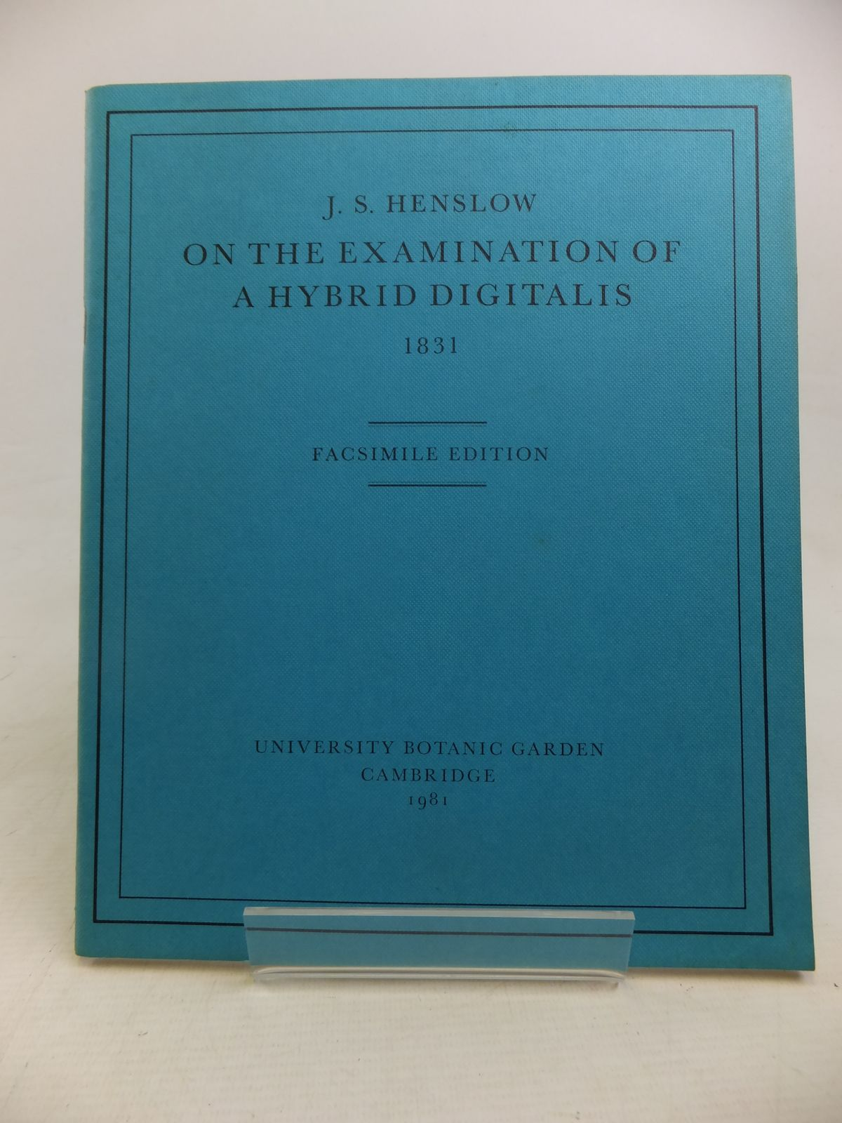 Photo of ON THE EXAMINATION OF A HYBRID DIGITALIS 1831 written by Henslow, J.S.<br />Walters, S.M.<br />Heywood, V.H. published by University Botanic Garden Cambridge (STOCK CODE: 1810912)  for sale by Stella & Rose's Books