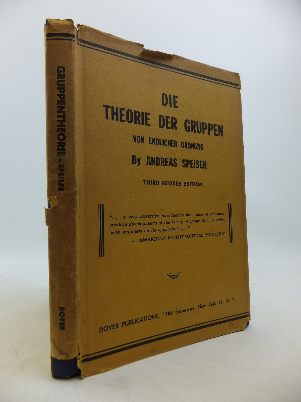 Photo of DIE THEORIE DER GRUPPEN VON ENDLICHER ORDNUNG written by Speiser, Andreas published by Dover Publications (STOCK CODE: 1811416)  for sale by Stella & Rose's Books