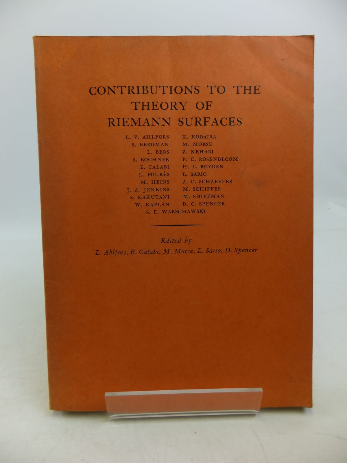 Photo of CONTRIBUTIONS TO THE THEORY OF RIEMANN SURFACES written by Ahlfors, Lars V.<br />Calabi, E<br />et al,  published by Princeton University Press (STOCK CODE: 1811618)  for sale by Stella & Rose's Books