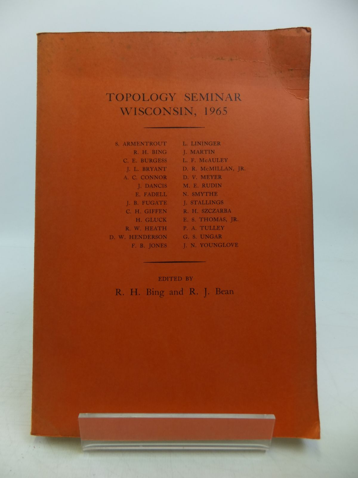 Photo of TOPOLOGY SEMINAR WISCONSIN, 1965 written by Bing, R.H.<br />Bean, R.J. published by Princeton University Press (STOCK CODE: 1811653)  for sale by Stella & Rose's Books