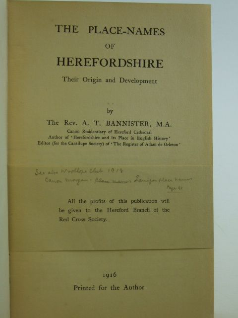 Photo of THE PLACE-NAMES OF HEREFORDSHIRE written by Bannister, Arthur T. published by A.T. Bannister (STOCK CODE: 2105978)  for sale by Stella & Rose's Books