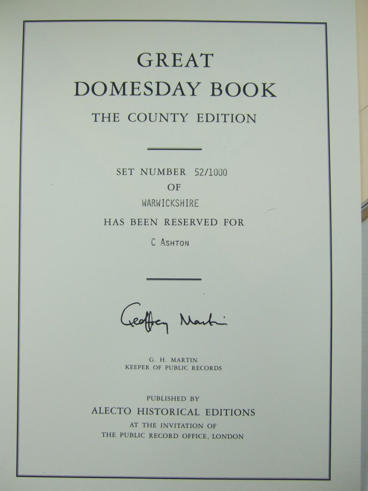 Photo of DOMESDAY BOOK WARWICKSHIRE published by Alecto Historical Editions (STOCK CODE: 2109817)  for sale by Stella & Rose's Books