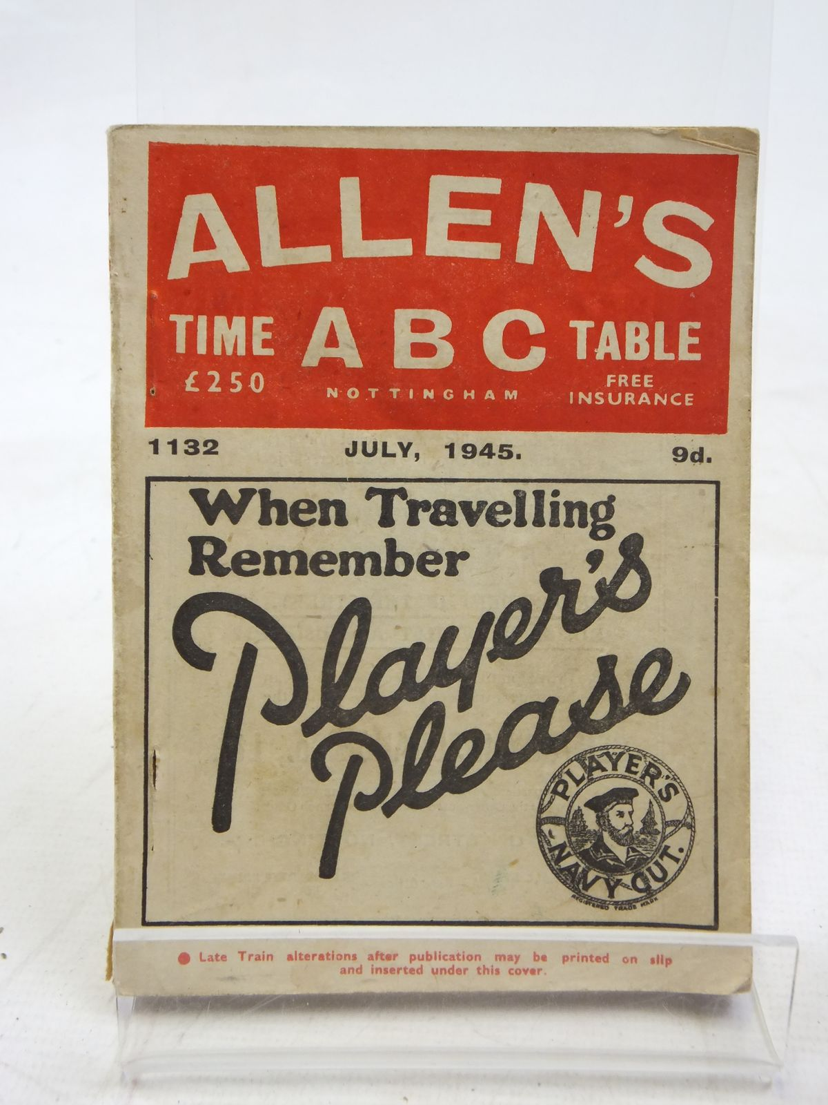 Photo of ALLEN'S ABC TIME TABLE NOTTINGHAM JULY 1945 (STOCK CODE: 2115955)  for sale by Stella & Rose's Books