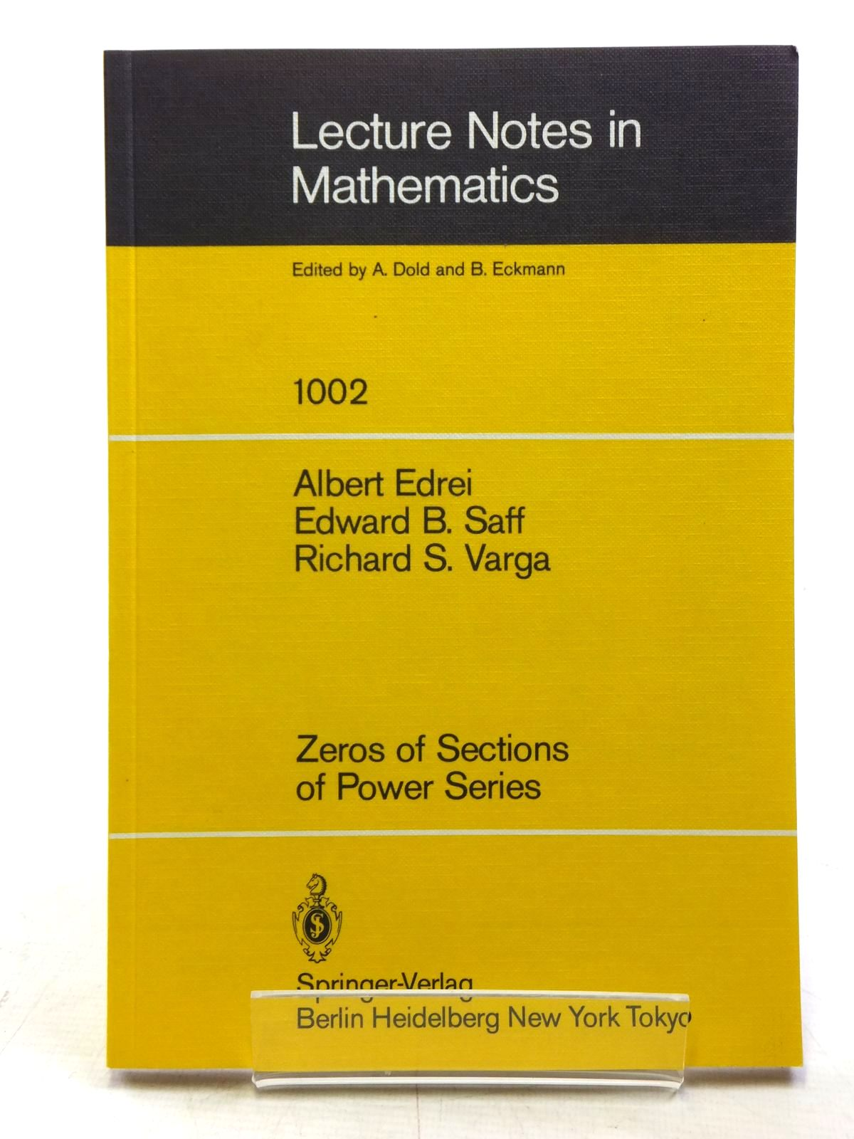 Photo of LECTURE NOTES IN MATHEMATICS 1002 ZEROS OF SECTIONS OF POWER SERIES written by Edrei, Albert<br />Saff, Edward B.<br />Varga, Richard S.<br />Dold, A.<br />Eckmann, B. published by Springer-Verlag (STOCK CODE: 2120116)  for sale by Stella & Rose's Books