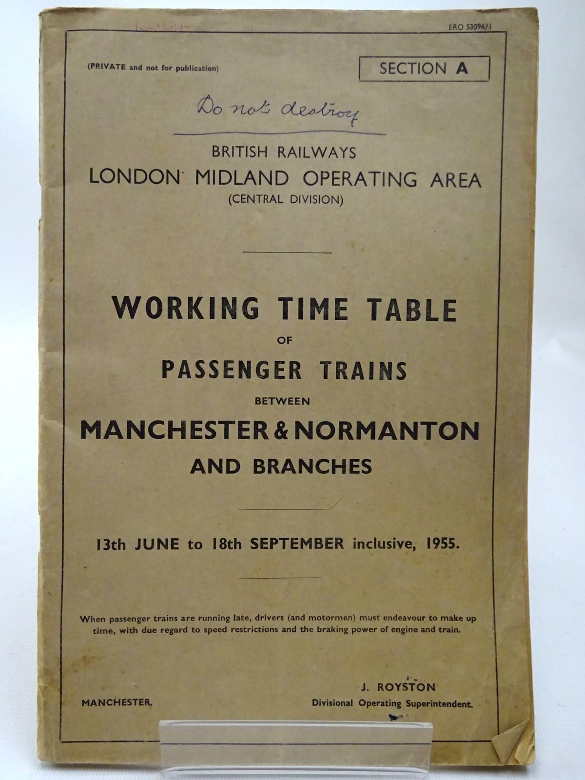 Photo of BRITISH RAILWAYS LONDON MIDLAND OPERATING AREA (CENTRAL DIVISION) WORKING TIME TABLE OF PASSENGER TRAINS BETWEEN MANCHESTER & NORMANTON AND BRANCHES published by British Rail (Western) (STOCK CODE: 2126803)  for sale by Stella & Rose's Books