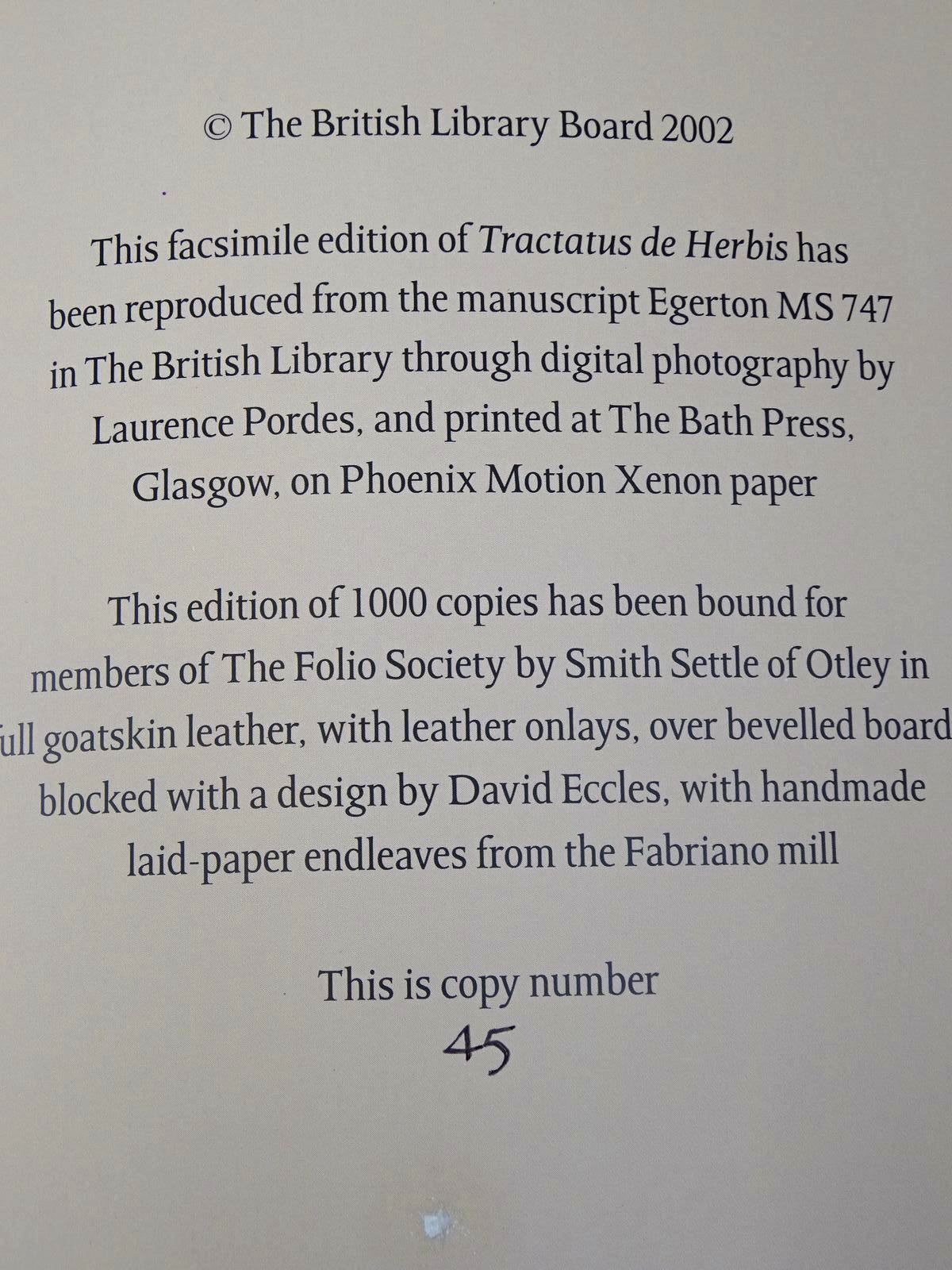 Photo of TRACTATUS DE HERBIS written by Collins, Minta<br />Raphael, Sandra published by Folio Society (STOCK CODE: 2127513)  for sale by Stella & Rose's Books