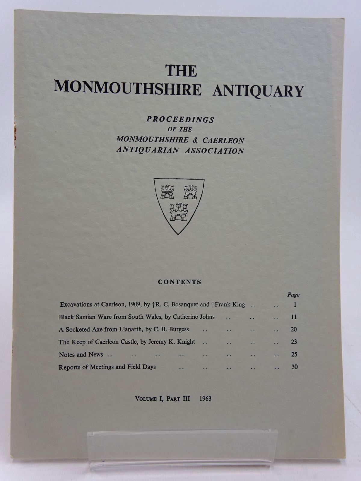 Photo of THE MONMOUTHSHIRE ANTIQUARY VOLUME 1 PART 3 written by Bosanquet, R.C.<br />et al, published by Monmouthshire Antiquarian Association (STOCK CODE: 2130962)  for sale by Stella & Rose's Books