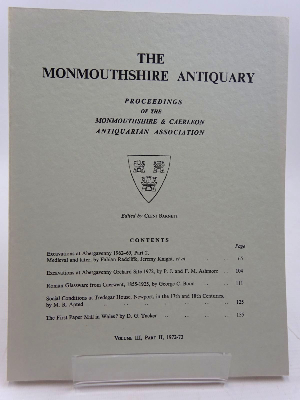 Photo of THE MONMOUTHSHIRE ANTIQUARY VOLUME III PART II written by Barnett, Cefni published by Monmouthshire & Caerleon Antiquarian Association (STOCK CODE: 2130965)  for sale by Stella & Rose's Books