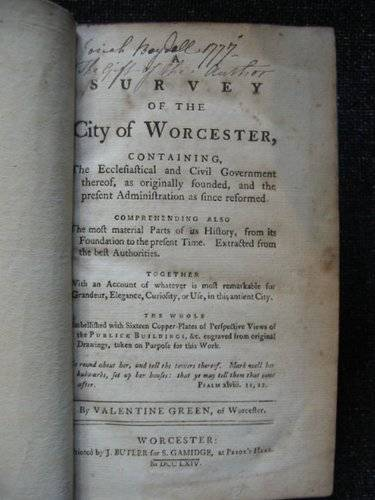 Photo of A SURVEY OF THE CITY OF WORCESTER written by Green, Valentine published by J. Butler (STOCK CODE: 553859)  for sale by Stella & Rose's Books