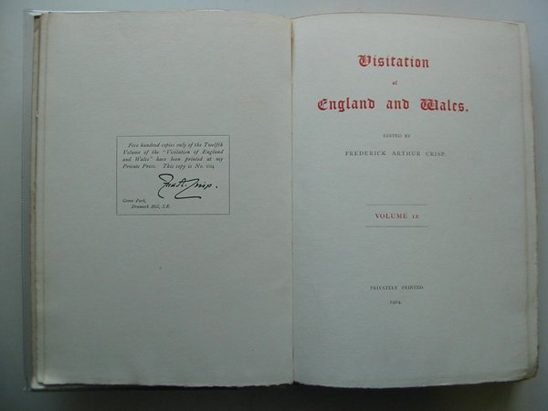 Photo of VISITATION OF ENGLAND AND WALES VOLUME 12 written by Crisp, Frederick Arthur (STOCK CODE: 575978)  for sale by Stella & Rose's Books