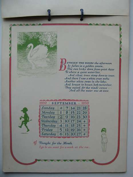 Photo of THE VERY YOUNG CALENDAR 1930 written by Milne, A.A. illustrated by Shepard, E.H. published by Methuen & Co. Ltd. (STOCK CODE: 594439)  for sale by Stella & Rose's Books