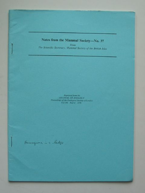 Photo of NOTES FROM THE MAMMAL SOCIETY No. 37 published by Zoological Society Of London (STOCK CODE: 596176)  for sale by Stella & Rose's Books