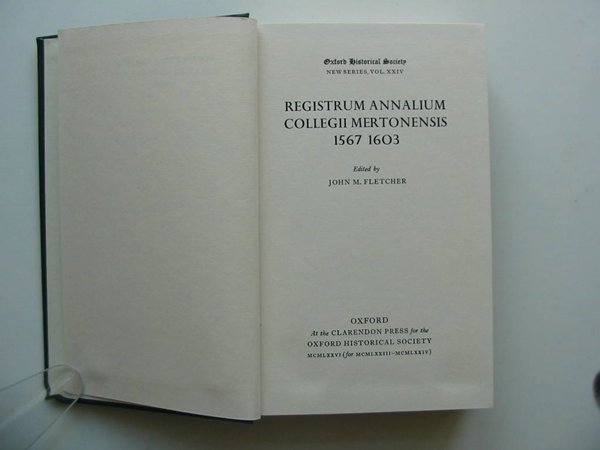Photo of REGISTRUM ANNALIUM COLLEGII MERTONENSIS 1567-1603 written by Fletcher, John M. published by Oxford University Press (STOCK CODE: 599360)  for sale by Stella & Rose's Books