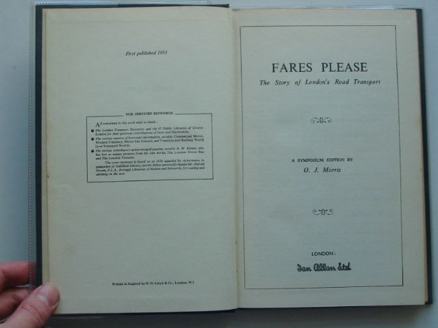 Photo of FARES PLEASE written by Morris, O.J. published by Ian Allan Ltd. (STOCK CODE: 663063)  for sale by Stella & Rose's Books