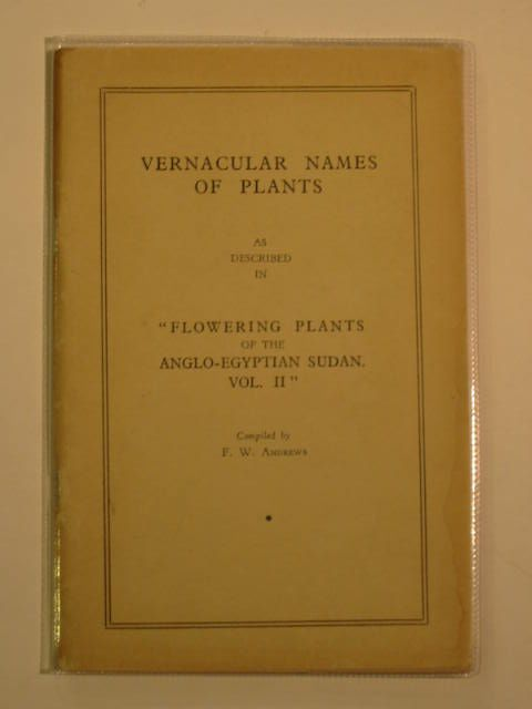 Photo of VERNACULAR NAMES OF PLANTS written by Andrews, F.W. published by McCorquodale & Co. (STOCK CODE: 694865)  for sale by Stella & Rose's Books