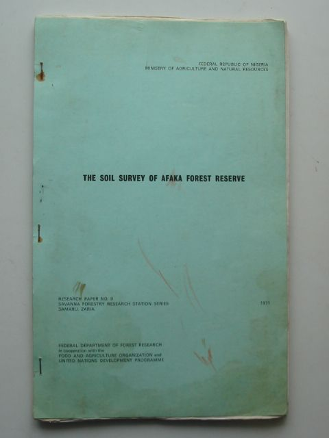 Photo of THE SOIL SURVEY OF AFAKA FOREST RESERVE written by Barrera, Alfredo V.<br />Amujo, S.J. published by Federal Department Of Forest Research (STOCK CODE: 694875)  for sale by Stella & Rose's Books