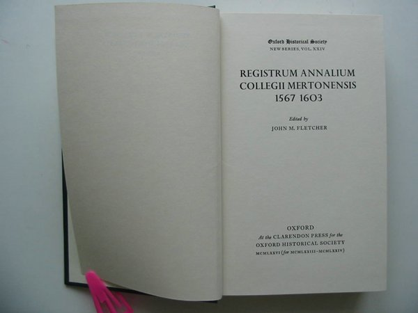 Photo of REGISTRUM ANNALIUM COLLEGII MERTONENSIS 1567-1603 written by Fletcher, John M. published by Oxford University Press (STOCK CODE: 806271)  for sale by Stella & Rose's Books