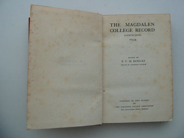 Photo of THE MAGDALEN COLLEGE RECORD 1934 written by Benecke, P.V.M. published by John Murray (STOCK CODE: 807271)  for sale by Stella & Rose's Books