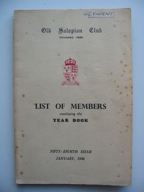 Photo of OLD SALOPIAN CLUB LIST OF MEMBERS CONTINUING THE YEAR BOOK published by Wilding & Son Ltd. (STOCK CODE: 811106)  for sale by Stella & Rose's Books