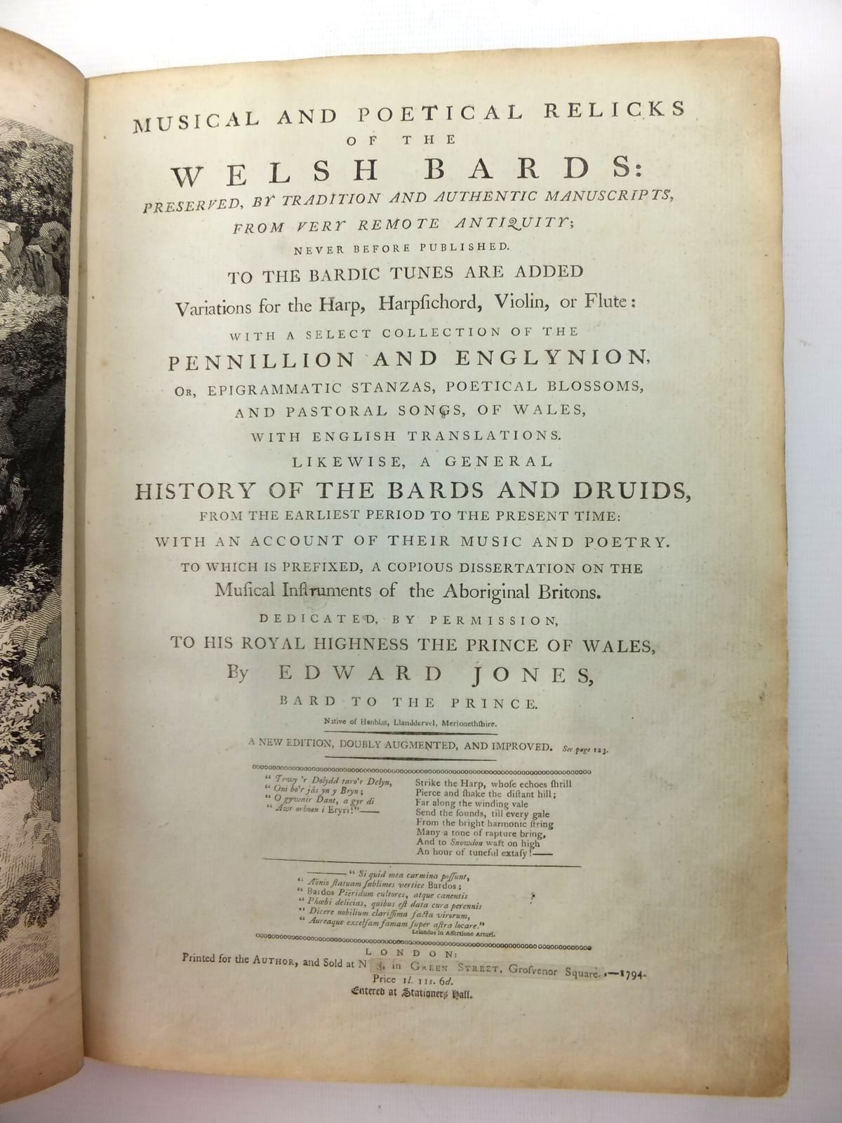 Photo of MUSICAL AND POETICAL RELICKS OF THE WELSH BARDS written by Jones, Edward published by Edward Jones (STOCK CODE: 816482)  for sale by Stella & Rose's Books