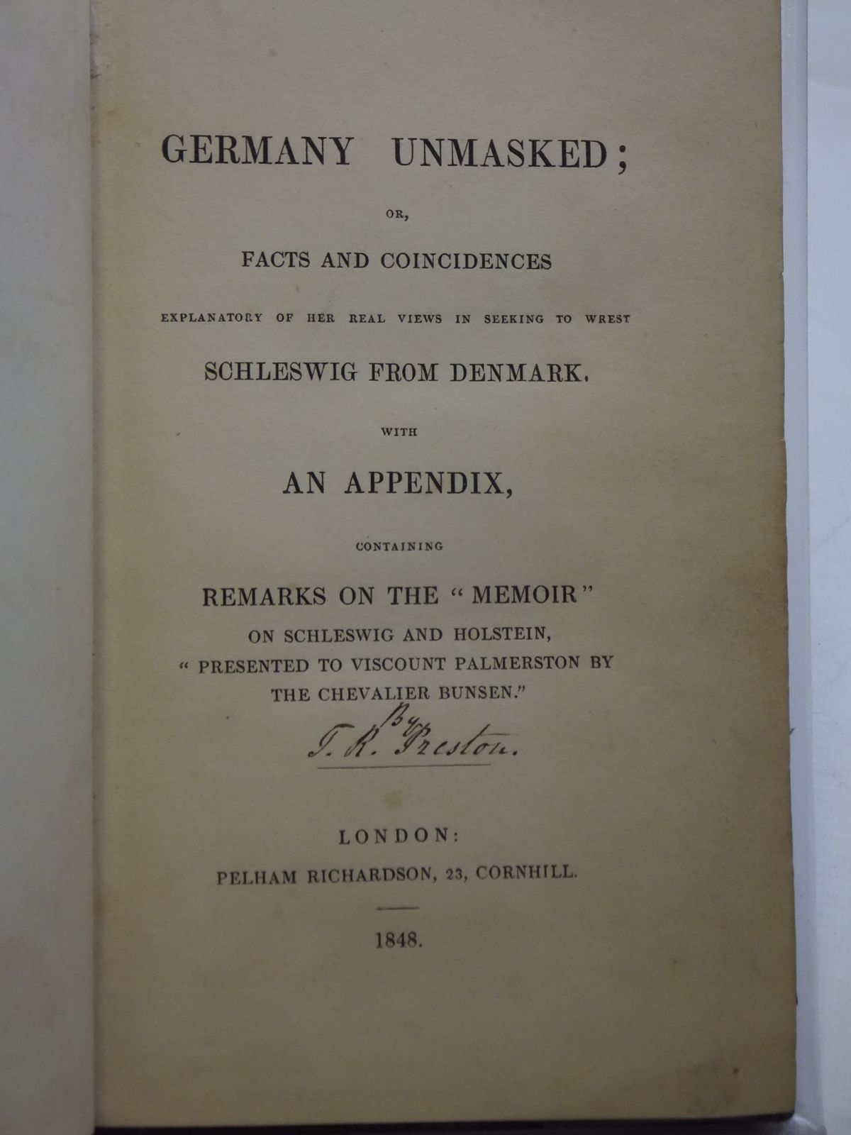 Photo of GERMANY UNMASKED written by Preston, J.R. published by Pelham Richardson (STOCK CODE: 986193)  for sale by Stella & Rose's Books