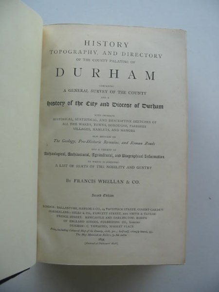 Photo of HISTORY TOPOGRAPHY AND DIRECTORY OF THE COUNTY PALATINE OF DURHAM written by Whellan & Co., Francis published by Ballantyne, Hanson & Co. (STOCK CODE: 989800)  for sale by Stella & Rose's Books