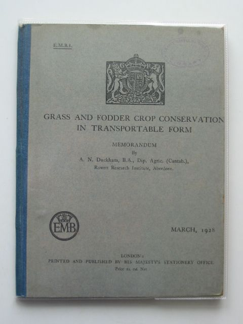 Photo of GRASS AND FODDER CROP CONSERVATION IN TRANSPORTABLE FORM written by Duckham, A.N. published by HMSO (STOCK CODE: 989968)  for sale by Stella & Rose's Books