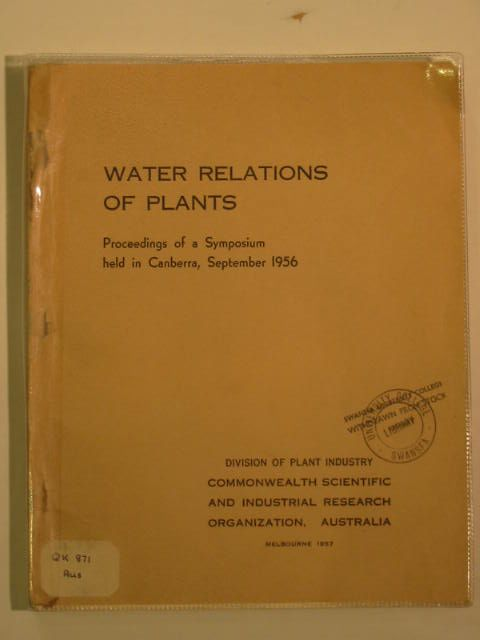 Photo of WATER RELATIONS OF PLANTS published by Commonwealth Scientific And Industrial Research Organization (STOCK CODE: 990148)  for sale by Stella & Rose's Books