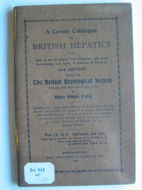 Photo of A CENSUS CATALOGUE OF BRITISH HEPATICS written by Wilson, Albert published by Martin's Printing Works (STOCK CODE: 990157)  for sale by Stella & Rose's Books