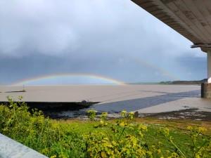 Double rainbow under the Severn Bridge