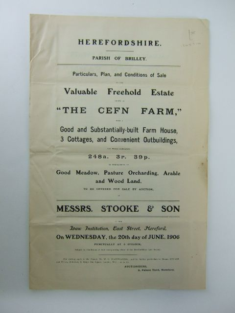 Photo of PARTICULARS, PLAN AND CONDITIONS OF SALE OF THE VALUABLE FREEHOLD ESTATE KNOWN AS THE CEFN FARM published by Messrs. Stooke And Son (STOCK CODE: 1205910)  for sale by Stella & Rose's Books