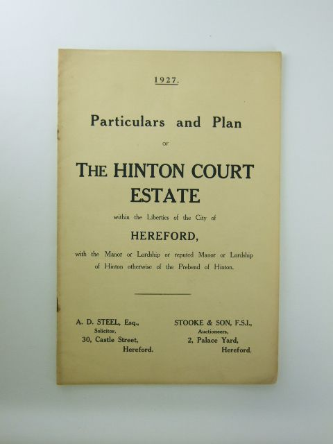 Photo of PARTICULARS AND PLAN OF THE HINTON COURT ESTATE published by Messrs. Stooke And Son (STOCK CODE: 1205914)  for sale by Stella & Rose's Books