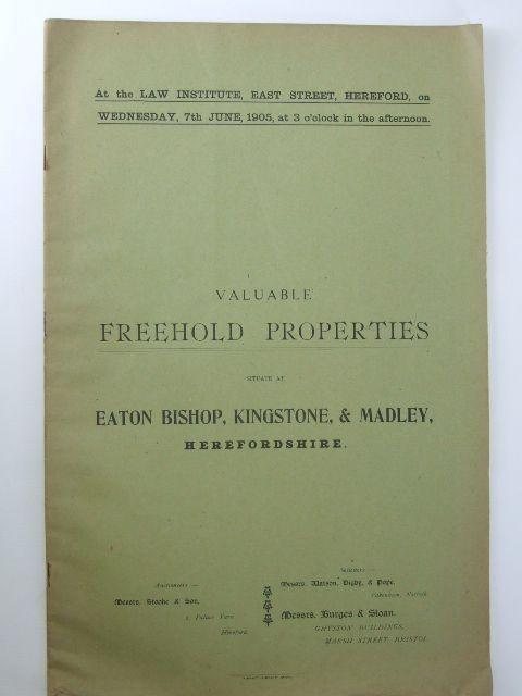 Photo of VALUABLE FREEHOLD PROPERTIES SITUATE AT EATON BISHOP, KINGSTONE & MADLEY, HEREFORDSHIRE published by Messrs. Stooke And Son (STOCK CODE: 1205921)  for sale by Stella & Rose's Books