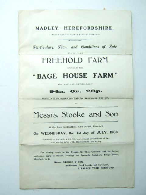 Photo of BAGE HOUSE FARM MADLEY HEREFORDSHIRE published by Messrs. Stooke And Son (STOCK CODE: 1206046)  for sale by Stella & Rose's Books