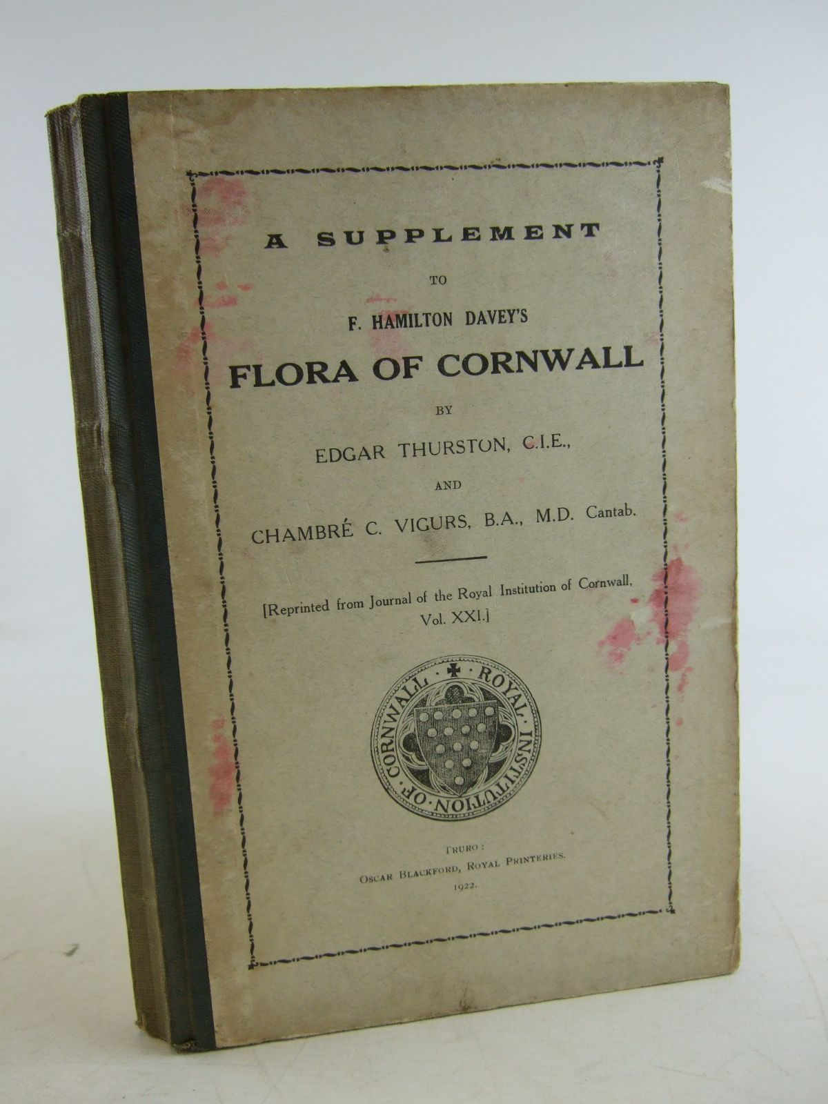 Photo of A SUPPLEMENT TO F. HAMILTON DAVEY'S FLORA OF CORNWALL written by Thurston, Edgar<br />Vigurs, Chambre C. published by Oscar Blackford (STOCK CODE: 1206412)  for sale by Stella & Rose's Books