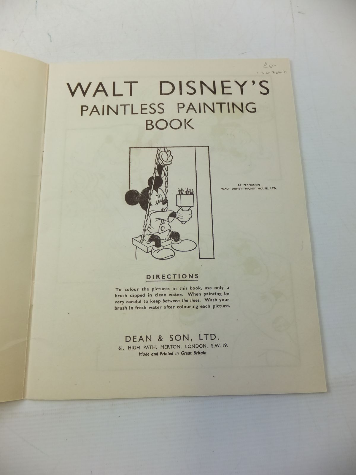 Photo of WALT DISNEY PAINTLESS PAINTING BOOK written by Disney, Walt illustrated by Disney, Walt published by Dean & Son Ltd. (STOCK CODE: 1207807)  for sale by Stella & Rose's Books