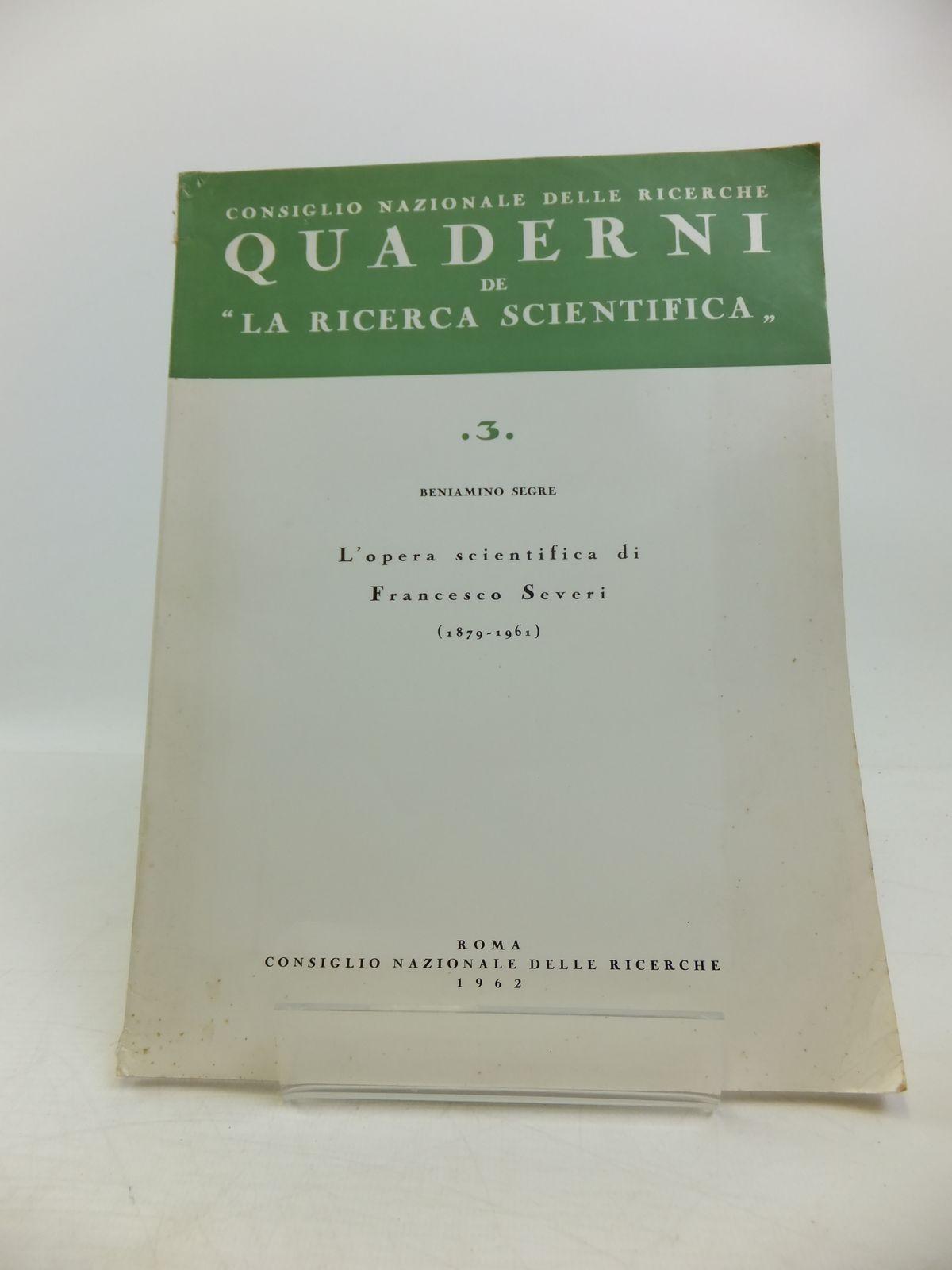 Photo of L'OPERA SCIENTIFICA DI FRANCESCO SEVERI (1879-1961)- Stock Number: 1208168
