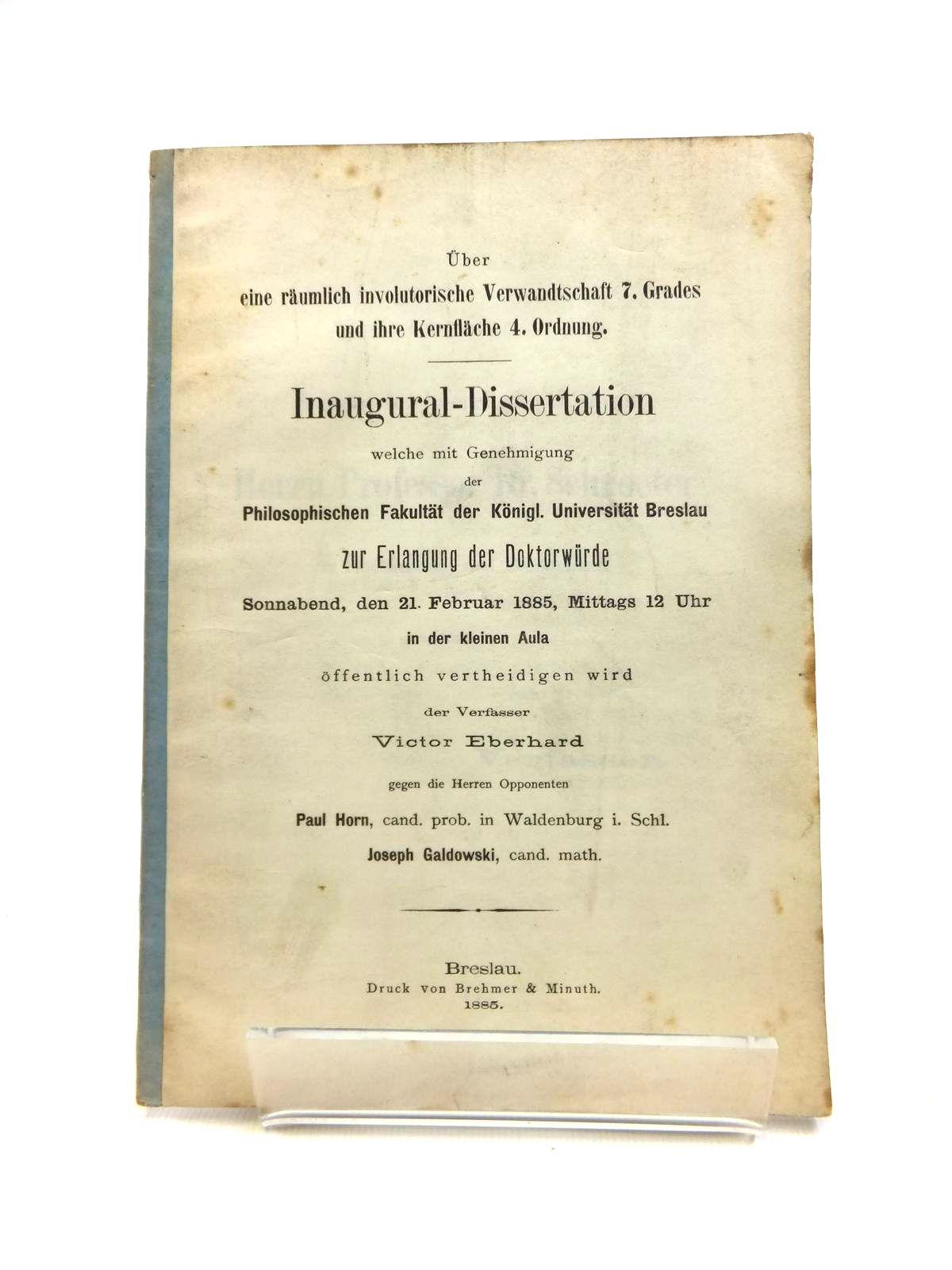 Photo of UBER EINE RAUMLICH INVOLUTORISCHE VERWANDTSCHAFT 7. GRADES UND IHRE KERNFLACHE 4. ORDNUNG. written by Eberhard, Victor published by Brehmer & Minuth (STOCK CODE: 1208323)  for sale by Stella & Rose's Books