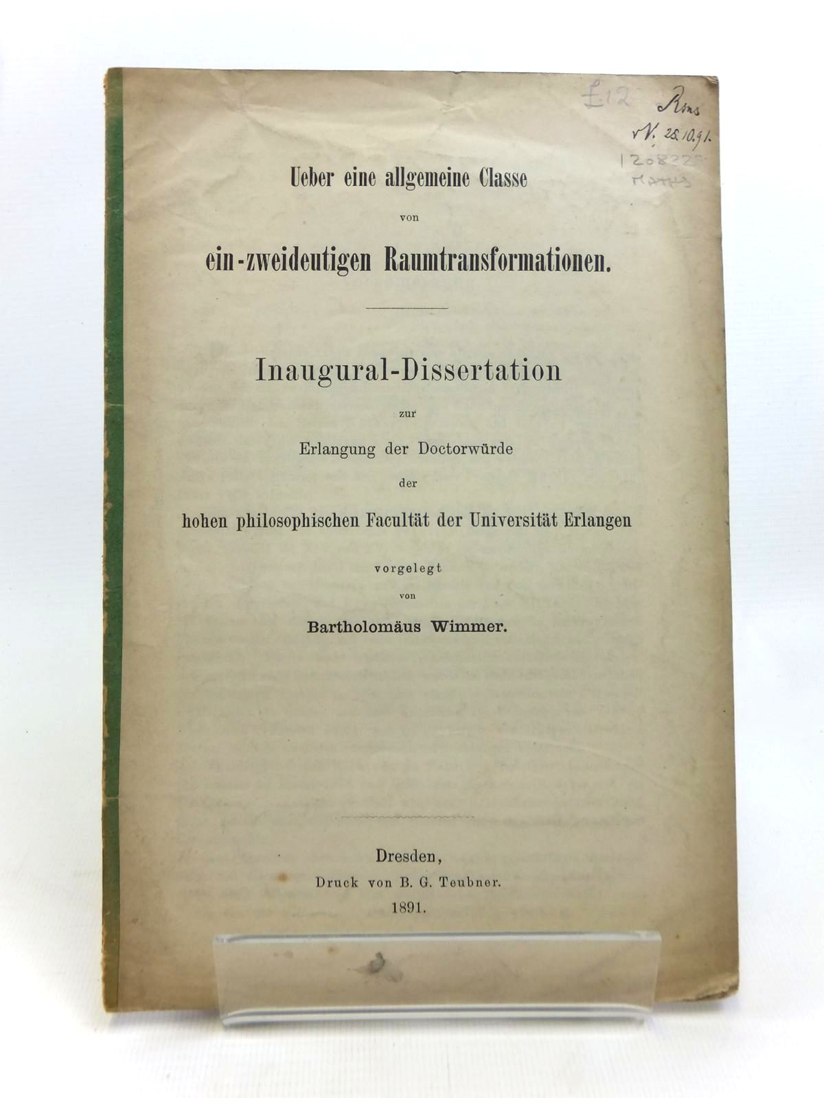 Photo of UEBER EINE ALLGEMEINE CLASSE VON EIN-ZWEIDEUTIGEN RAUMTRANSFORMATIONEN- Stock Number: 1208329