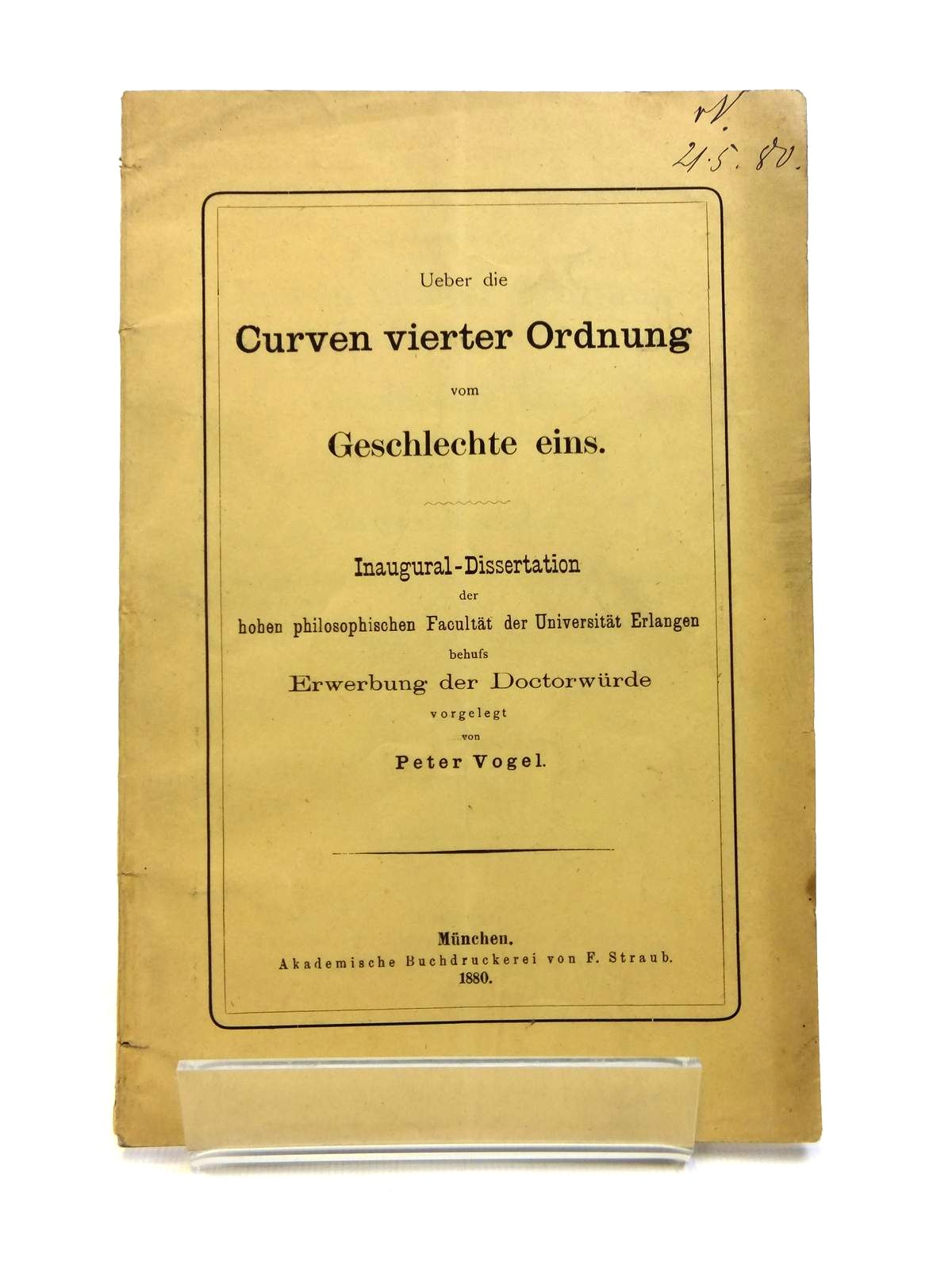 Photo of UEBER DIE CURVEN VIERTER ORDNUNG VOM GESCHLECHTE EINS written by Vogel, Peter published by F. Straub (STOCK CODE: 1208333)  for sale by Stella & Rose's Books