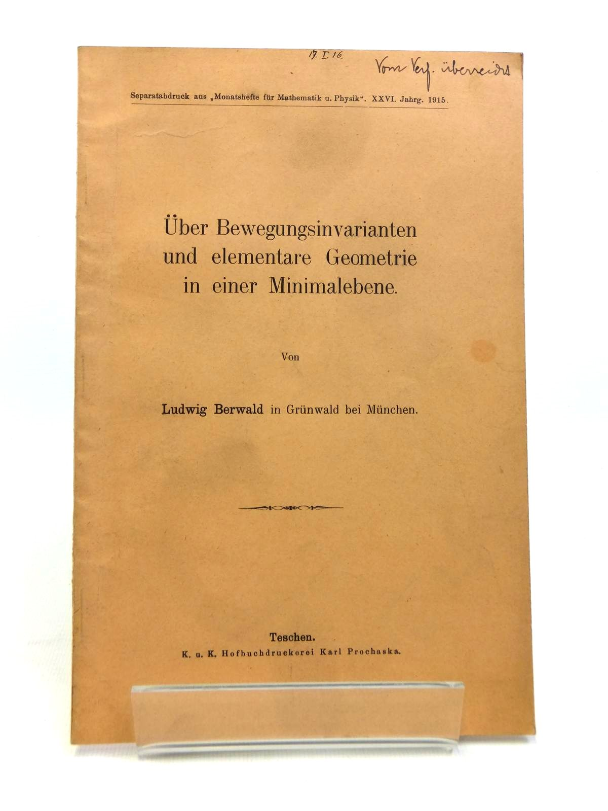 Photo of UBER BEWEGUNGSINVARIANTEN UND ELEMENTARE GEOMETRIE IN EINER MINIMALEBENE written by Berwald, Ludwig published by Karl Prochaska (STOCK CODE: 1208336)  for sale by Stella & Rose's Books