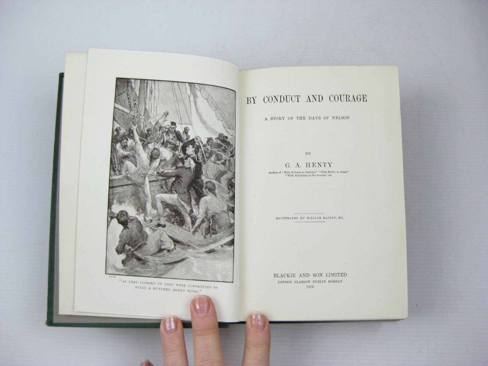 Photo of BY CONDUCT AND COURAGE written by Henty, G.A. illustrated by Rainey, William published by Blackie & Son Ltd. (STOCK CODE: 1313330)  for sale by Stella & Rose's Books