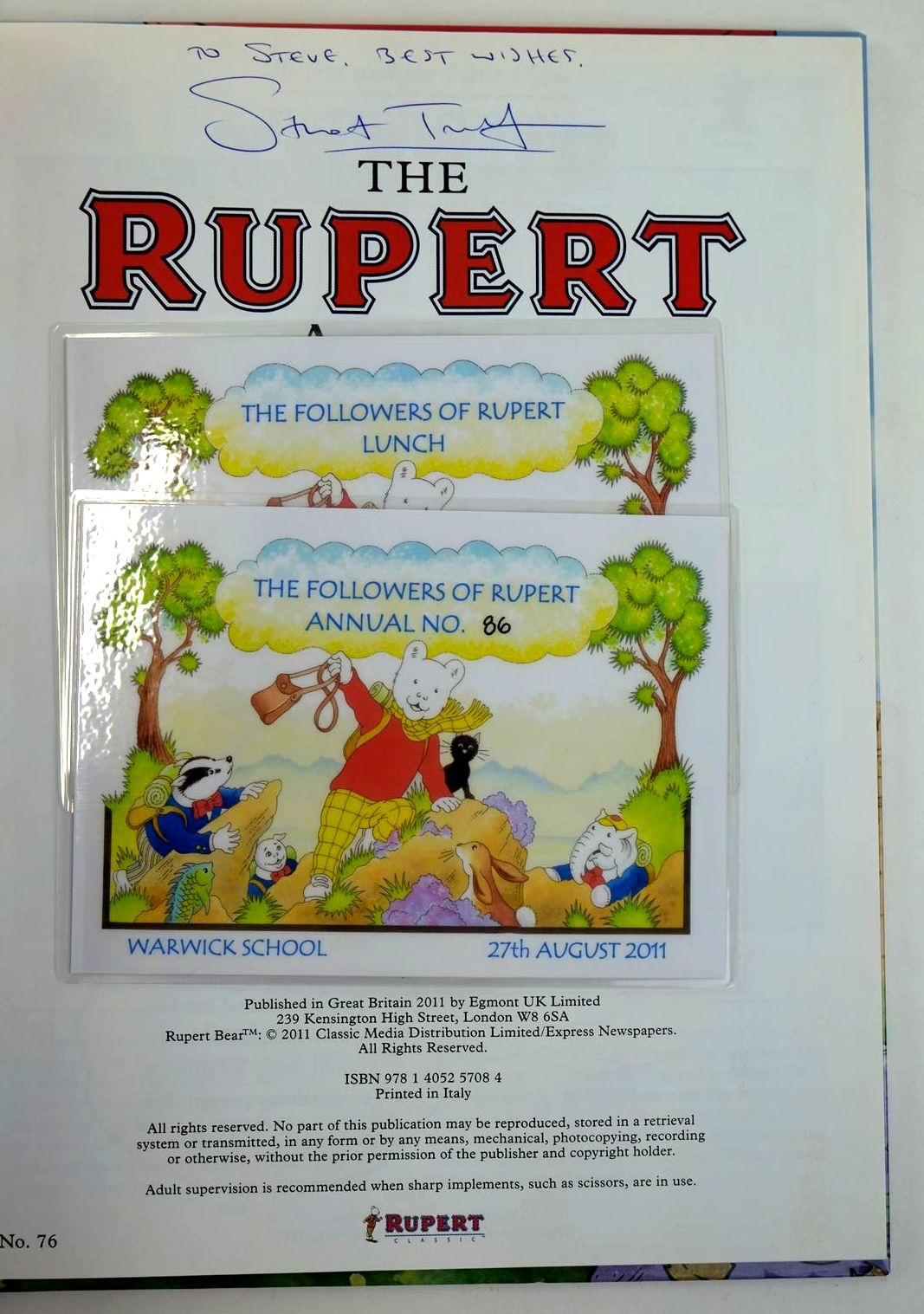 Photo of RUPERT ANNUAL 2011 written by Bestall, Alfred Harwood, Beth illustrated by Bestall, Alfred Trotter, Stuart published by Egmont Uk Limited (STOCK CODE: 1319557)  for sale by Stella & Rose's Books