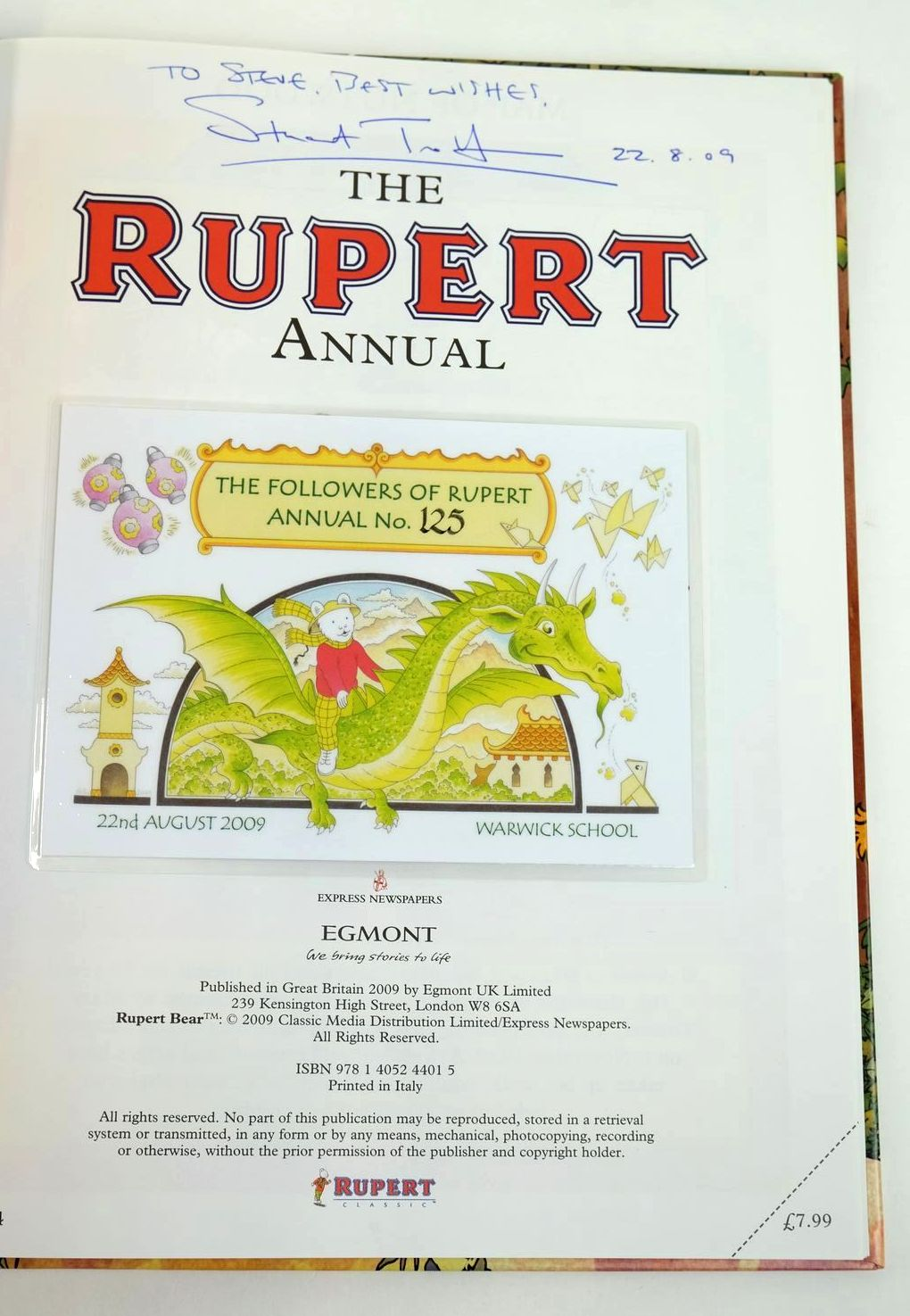Photo of RUPERT ANNUAL 2009 written by Trotter, Stuart illustrated by Trotter, Stuart published by Egmont Books Ltd. (STOCK CODE: 1319559)  for sale by Stella & Rose's Books