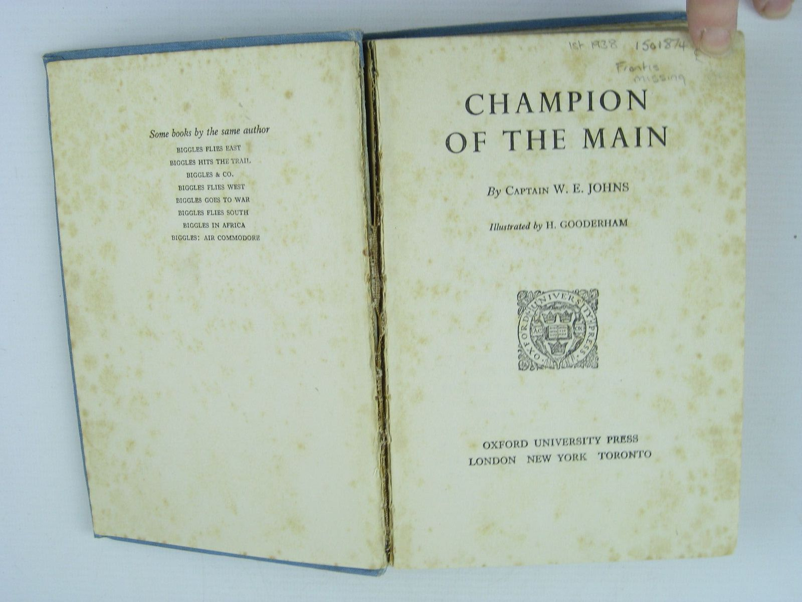 Photo of CHAMPION OF THE MAIN written by Johns, W.E. illustrated by Gooderham, H. published by Oxford University Press (STOCK CODE: 1501874)  for sale by Stella & Rose's Books